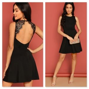 Lace Open Back Skater Mini Dress Black